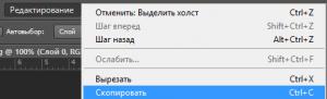 Редактирование - Скопировать