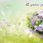 Двухсторонняя открытка с днём рождения. Сиреневое настроение